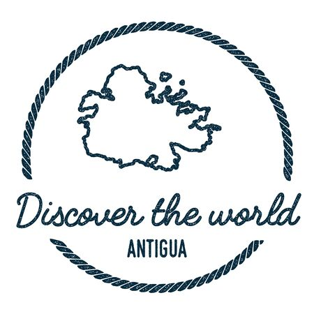 caribbean cruise: Antigua Map Outline. Vintage Discover the World Rubber Stamp with Island Map. Hipster Style Nautical Insignia, with Round Rope Border. Travel Vector Illustration. Illustration