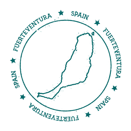 Fuerteventura vector map. Distressed travel stamp with text wrapped around a circle and stars. Island sticker vector illustration.