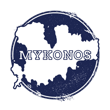 Mykonos vector map. Grunge rubber stamp with the name and map of island, vector illustration. Can be used as insignia, logotype, label, sticker or badge. Illustration