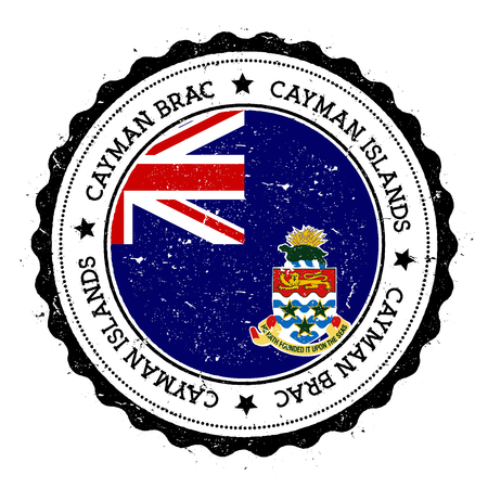 Cayman Brac flag badge. Vintage travel stamp with circular text, stars and island flag inside it. Vector illustration.