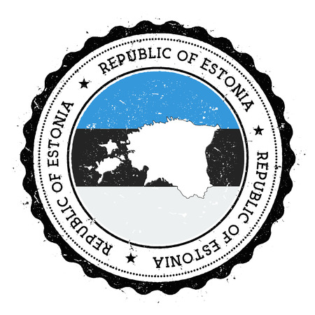 Estonia map and flag in vintage rubber stamp of state colours. Grungy travel stamp with map and flag of Estonia. Country map and flag vector illustration. Illustration