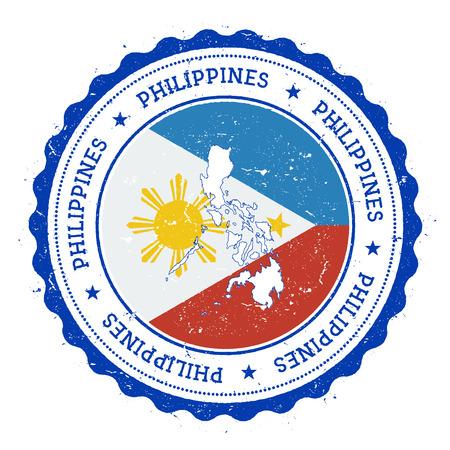 De kaart van Filippijnen en vlag in uitstekende rubberzegel van staatskleuren. Grungy reiszegel met kaart en vlag van Filippijnen. Kaart van het land en vlag vector illustratie. Stock Illustratie