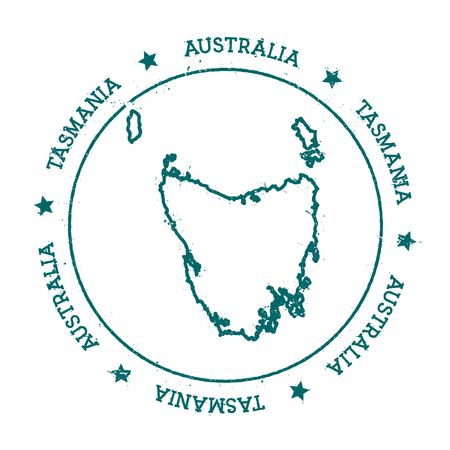 oceania: Tasmania vector map. Distressed travel stamp with text wrapped around a circle and stars. Island sticker vector illustration. Illustration