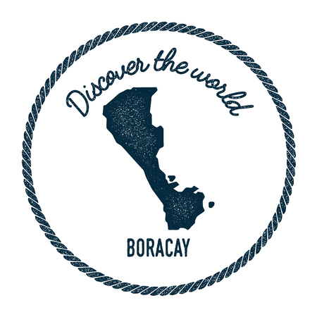 Boracay map in vintage discover the world insignia. Hipster style nautical postage stamp, with round rope border. Vector illustration.