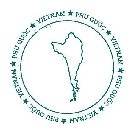 Mappa del vettore di Phu Qu? C. Timbro di viaggio disturbato con testo avvolto intorno a un cerchio e stelle. Illustrazione vettoriale dell'autoadesivo dell'isola.
