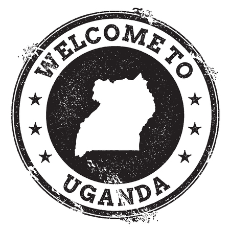 Vintage passport welcome stamp with Uganda map. Grunge rubber stamp with Welcome to Uganda text, vector illustration.