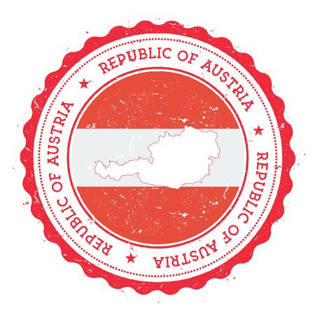 Austria map and flag in vintage rubber stamp of state colours. Grungy travel stamp with map and flag of Austria. Country map and flag vector illustration. Vetores