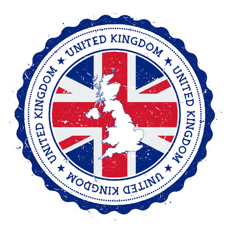 United Kingdom map and flag in vintage rubber stamp of state colours. Grungy travel stamp with map and flag of United Kingdom. Country map and flag vector illustration. Çizim
