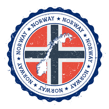 Norway map and flag in vintage rubber stamp of state colours. Grungy travel stamp with map and flag of Norway. Country map and flag vector illustration.
