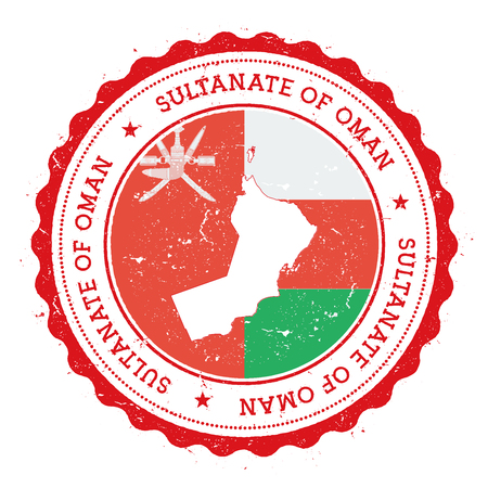 Oman map and flag in vintage rubber stamp of state colours. Grungy travel stamp with map and flag of Oman. Country map and flag vector illustration. Illustration