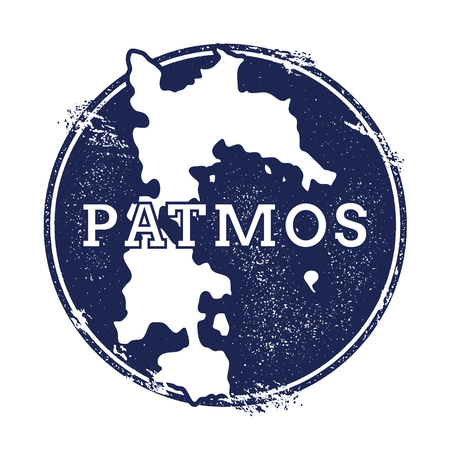Patmos vector map. Grunge rubber stamp with the name and map of island, vector illustration. Can be used as insignia, logotype, label, sticker or badge.
