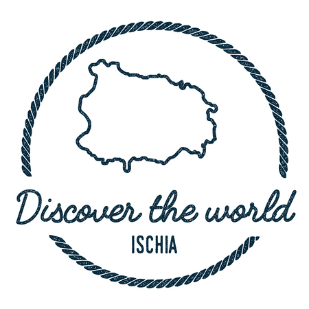 trotting: Ischia Map Outline. Vintage Discover the World Rubber Stamp with Island Map. Hipster Style Nautical Insignia, with Round Rope Border. Travel Vector Illustration.