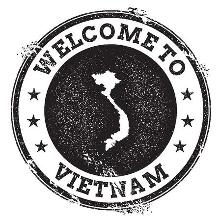 trotting: Vintage passport welcome stamp with Vietnam map. Grunge rubber stamp with Welcome to Vietnam text, vector illustration.