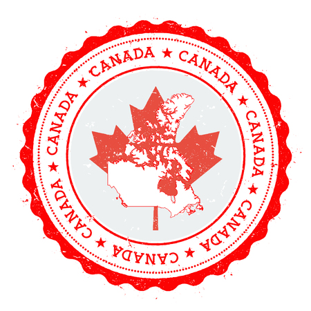 Canada map and flag in vintage rubber stamp of state colours. Grungy travel stamp with map and flag of Canada. Country map and flag vector illustration. Çizim