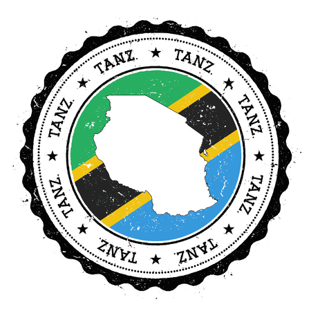 streamers: Tanzania, United Republic of map and flag in vintage rubber stamp of state colours. Grungy travel stamp with map and flag of Tanzania, United Republic of. Country map and flag vector illustration.
