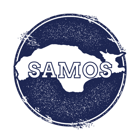 trotting: Samos vector map. Grunge rubber stamp with the name and map of island, vector illustration. Can be used as insignia, logotype, label, sticker or badge.