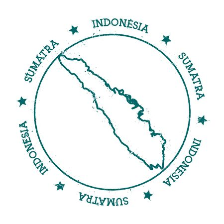 Sumatra vector map. Distressed travel stamp with text wrapped around a circle and stars. Island sticker vector illustration.