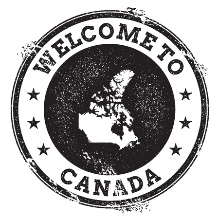 ビンテージ パスポート カナダのマップとスタンプを歓迎します。グランジ カナダ テキスト、ベクトル図にようこそゴム印。