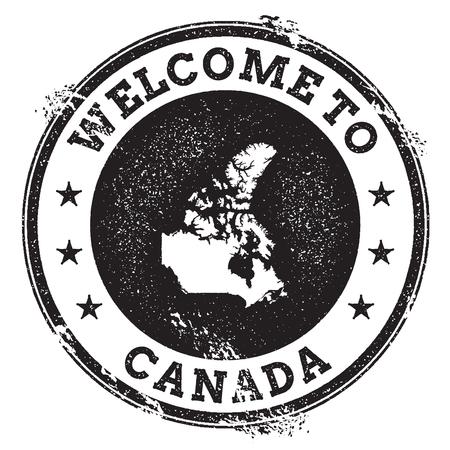 Vintage paspoort welkom stempel met kaart van Canada. Grunge rubberzegel met Onthaal aan de tekst van Canada, vectorillustratie.