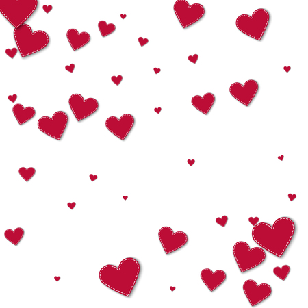 Red stitched paper hearts. Scatter pattern on white background. Vector illustration.