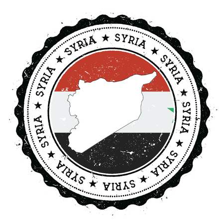 Syrian Arab Republic map and flag in vintage rubber stamp of state colours. Grungy travel stamp with map and flag of Syrian Arab Republic. Country map and flag vector illustration.