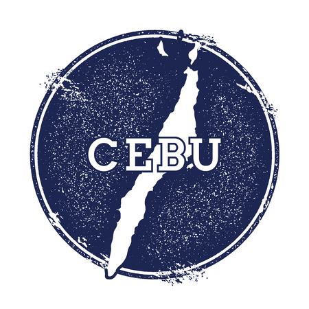 trotting: Cebu vector map. Grunge rubber stamp with the name and map of island, vector illustration. Can be used as insignia, logotype, label, sticker or badge.
