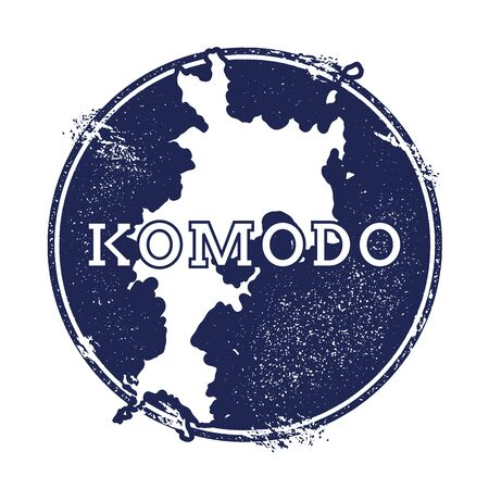 indo: Komodo vector map. Grunge rubber stamp with the name and map of island, vector illustration. Can be used as insignia, logotype, label, sticker or badge.