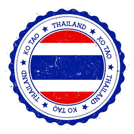 streamers: Ko Tao flag badge. Vintage travel stamp with circular text, stars and island flag inside it. Vector illustration.