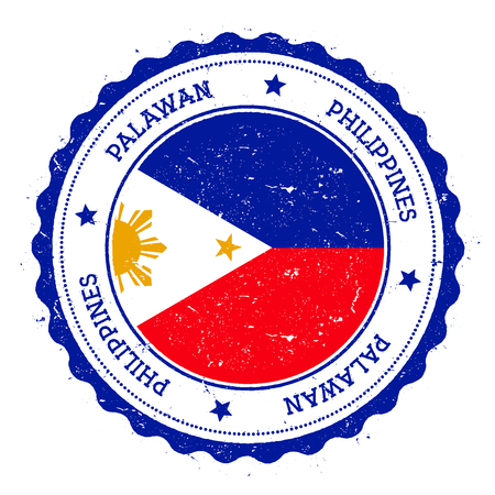 Palawan flag badge. Vintage travel stamp with circular text, stars and island flag inside it. Vector illustration.