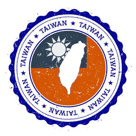 Mappa di Taiwan, Repubblica di Cina e bandiera in timbro di gomma d'epoca dei colori dello stato. Timbro di viaggio grungy con mappa e bandiera di Taiwan, Repubblica di Cina. Mappa del paese e bandiera illustrazione vettoriale.