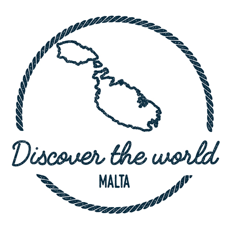 Malta Map Outline. Vintage Discover the World Rubber Stamp with Island Map. Hipster Style Nautical Insignia, with Round Rope Border. Travel Vector Illustration.