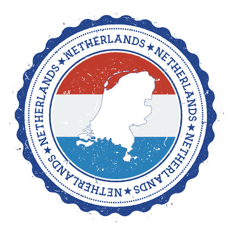 Netherlands map and flag in vintage rubber stamp of state colours. Grungy travel stamp with map and flag of Netherlands. Country map and flag vector illustration. Vettoriali