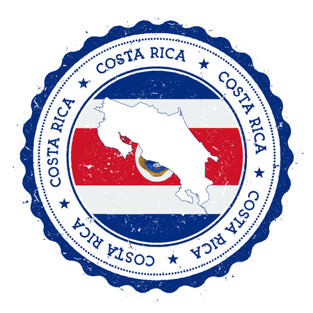 Costa Rica map and flag in vintage rubber stamp of state colours. Grungy travel stamp with map and flag of Costa Rica. Country map and flag vector illustration.