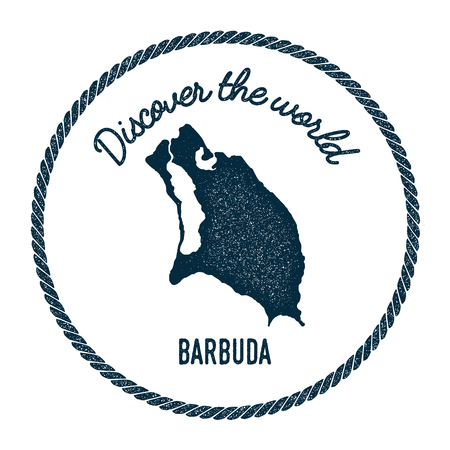 barbed: Barbuda map in vintage discover the world insignia. Hipster style nautical postage stamp, with round rope border. Vector illustration. Illustration