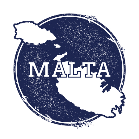 Malta vector map. Grunge rubber stamp with the name and map of island, vector illustration. Can be used as insignia, logotype, label, sticker or badge.