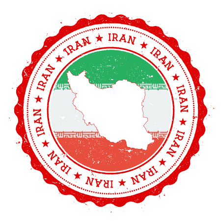 Iran, Islamic Republic Of map and flag in vintage rubber stamp of state colours. Grungy travel stamp with map and flag of Iran, Islamic Republic Of. Country map and flag vector illustration.