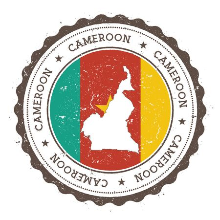 Cameroon map and flag in vintage rubber stamp of state colours. Grungy travel stamp with map and flag of Cameroon. Country map and flag vector illustration.