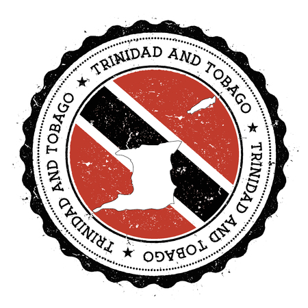 Trinidad and Tobago map and flag in vintage rubber stamp of state colours. Grungy travel stamp with map and flag of Trinidad and Tobago. Country map and flag vector illustration.