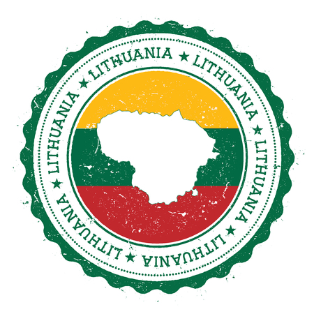 postmark: Lithuania map and flag in vintage rubber stamp of state colours. Grungy travel stamp with map and flag of Lithuania. Country map and flag vector illustration.