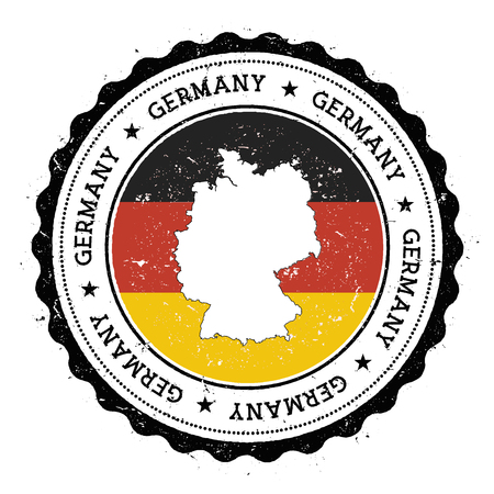 Germany map and flag in vintage rubber stamp of state colours. Grungy travel stamp with map and flag of Germany. Country map and flag vector illustration. Çizim
