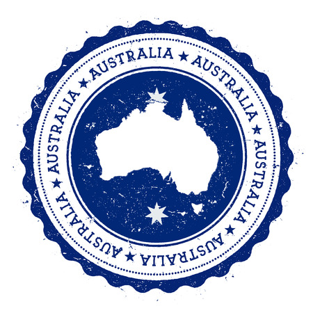 oceania: Australia map and flag in vintage rubber stamp of state colours. Grungy travel stamp with map and flag of Australia. Country map and flag vector illustration. Illustration