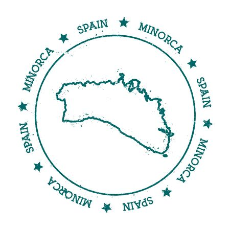 Minorca vector map. Distressed travel stamp with text wrapped around a circle and stars. Island sticker vector illustration.
