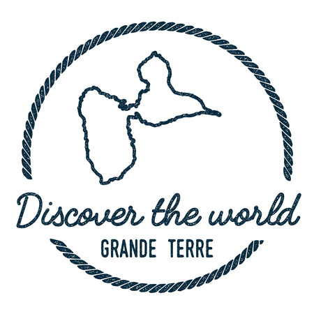 trotting: Grande-Terre Map Outline. Vintage Discover the World Rubber Stamp with Island Map. Hipster Style Nautical Insignia, with Round Rope Border. Travel Vector Illustration.