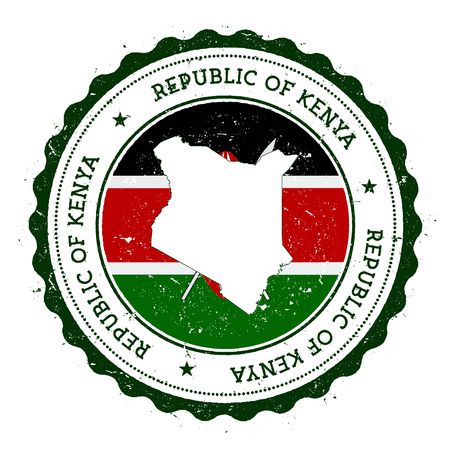 Kenya map and flag in vintage rubber stamp of state colours. Grungy travel stamp with map and flag of Kenya. Country map and flag vector illustration.