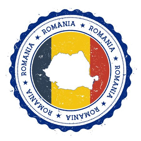 rom: Romania map and flag in vintage rubber stamp of state colours. Grungy travel stamp with map and flag of Romania. Country map and flag vector illustration. Illustration