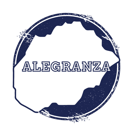 Alegranza vector map. Grunge rubber stamp with the name and map of island, vector illustration. Can be used as insignia, logotype, label, sticker or badge.