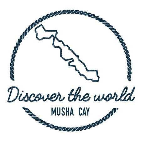 cachet: Musha Cay Map Outline. Vintage Discover the World Rubber Stamp with Island Map. Hipster Style Nautical Insignia, with Round Rope Border. Travel Vector Illustration.