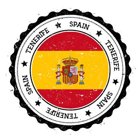 Tenerife flag badge. Vintage travel stamp with circular text, stars and island flag inside it. Vector illustration. Illustration