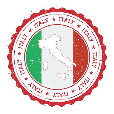 Mapa Włochy i flaga w starodawny stempel kolorów państwowych. Nieczysty znaczek podróży z mapą i flagą Włoch. Mapa kraju i flaga ilustracji wektorowych.