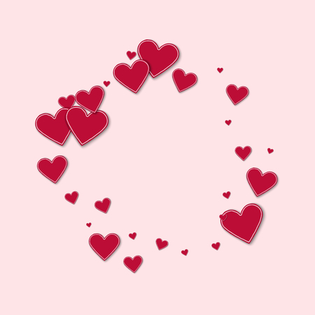 canvas print: Cutout red paper hearts. Bagel frame on light pink background. Vector illustration.